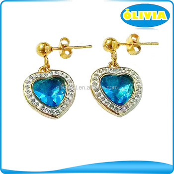 Olivia Hot Selling Top 10 Hanging Tanishq Pave Diamond Slice Sapphire Gemstone Earrings For Adults