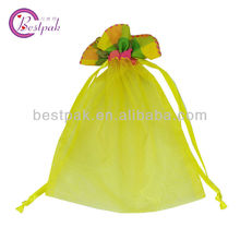 yellow printed organza bags supplies