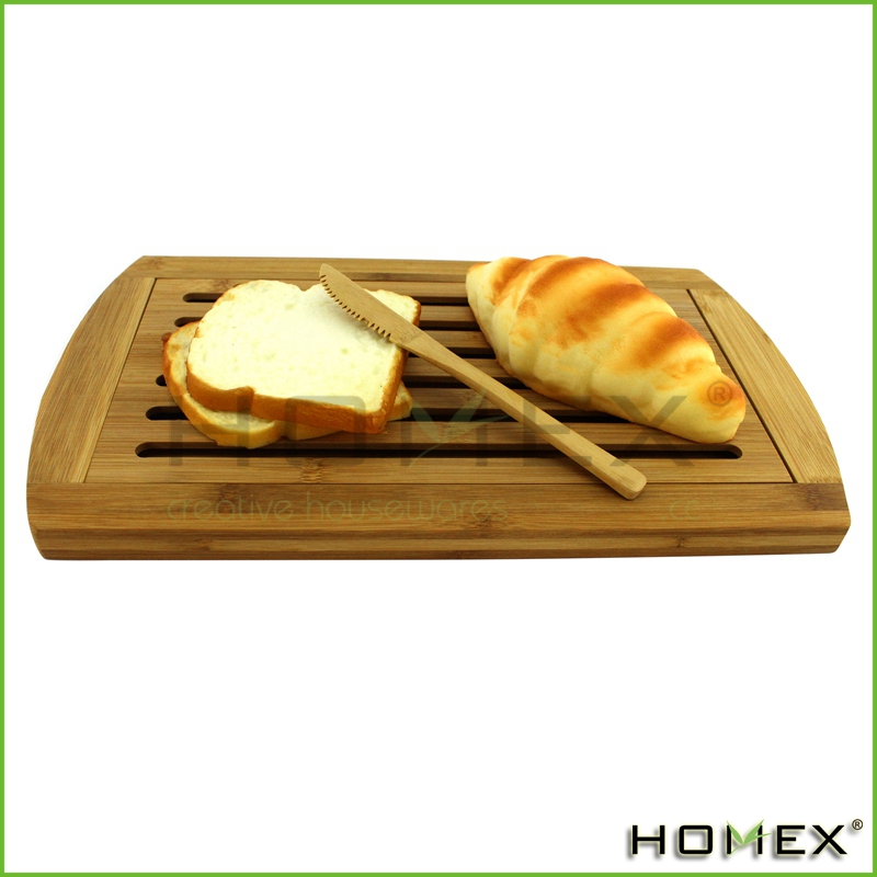 Custom Bamboo Wooden Bread Cutting Board with Slat Design and Removable Faceplate/Homex_Factory