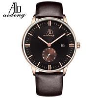 Classic Quartz Movement 3ATM Men's Elegant Crystal Genuine Leather Watch