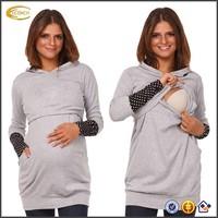 Ecoach China manufacturer women nursing Hoodie breastfeeding contrast detail custom logo maternity sweatshirt clothing