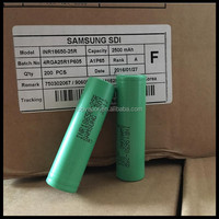 18650 high discharge rate battery cells /Samsung SDI 18650 20A High drain 18650 batteries Samsung INR 18650 25R 3.6v 2500mah