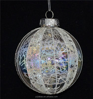 China import items decor for home, 10cm glass hanging ornament with plastic bead on pearlescent surface as christmas ornament