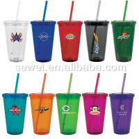 double wall plastic cup with straw. Plastic cup, promotional cup, straw cup.