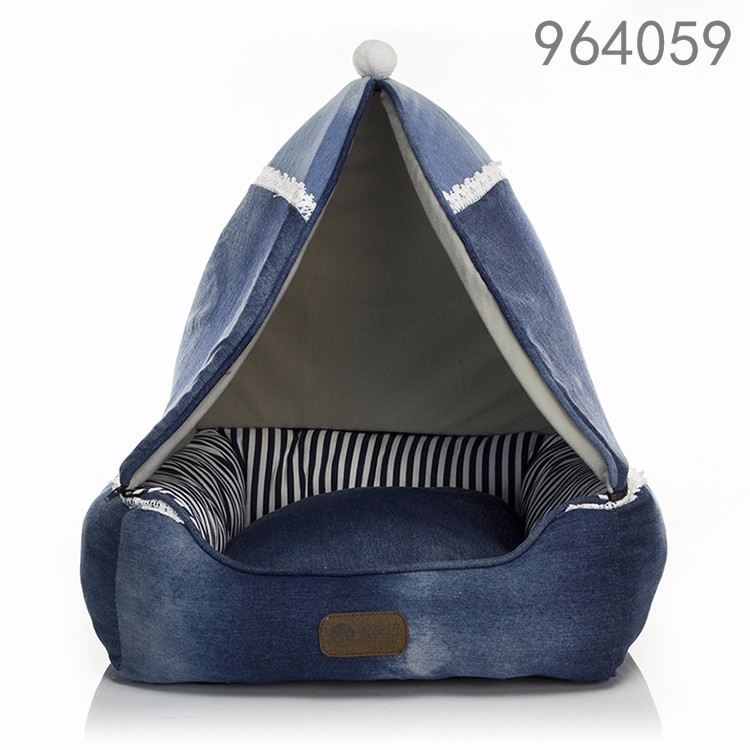 2016 high qualiy new home pet product machine washable funny luxury jeans square tent canopy pet dog bed in home garden