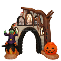 270cm/9ft inflatable broken house arch with pumpkin and witch on both sides for Hallowen decoration