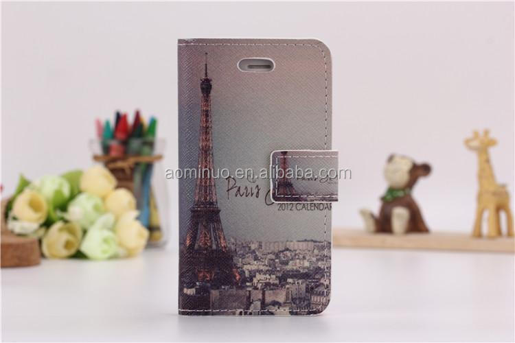 Classical National Landmark flip case Eiffel Tower for iphone 4 4s Cross pattern PU leather case wallet style cover case