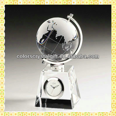 Handmade Unique Exquisite Crystal Globe Clock For New Year Business Gifts Souvenirs