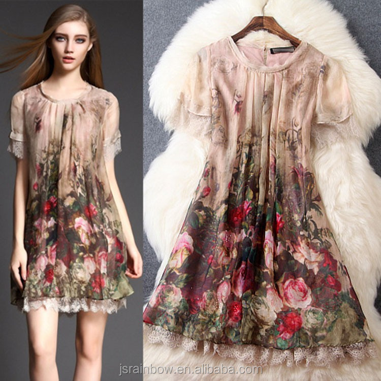 Famous designer digital print flowers summer 100% silk dresses for women wholesale