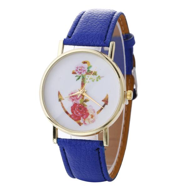 Free Sample Ladies Anchor Print Face Trend Design Quartz Watch