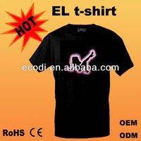 Hot!! Brilliant!! High Quality el lady t-shirts el light/flash/animated
