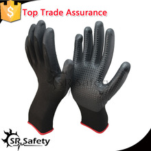SRSAFETY nylon liner fake foam nitrile safety glove/dotted working gloves