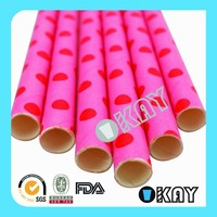 Pink with Red Dot Father's day Paper Straws