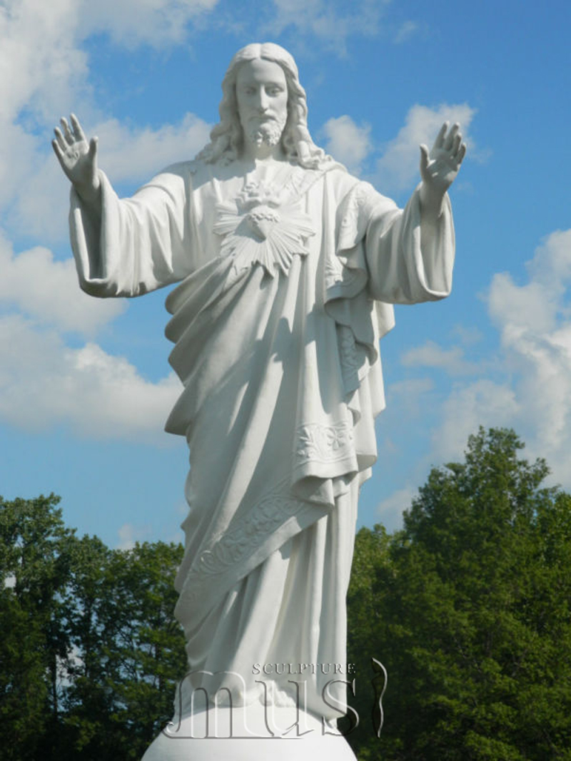 Home Decoration Hand Carved H200cm White Marble Jesus Statue.jpg