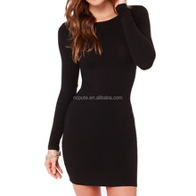 Wholesale Women Summer spring Sexy Casual dress Fashion elegent Black Dress Vestidos Long Sleeve Dress