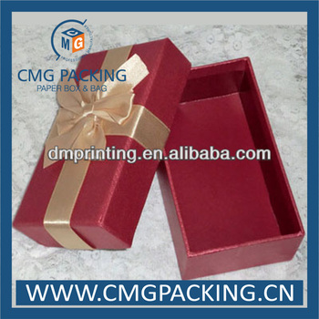 Wine paper packaging box with bow knot