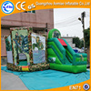 Cool giant bouncy castle sliding inflatable combo, green inflatable sports combo