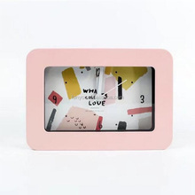 Popular cheap model design square shape plastic table alarm clock with light and glass