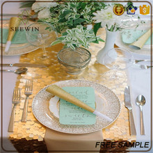 fashionable wedding golden sequin yellow table runner