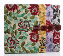 Wallet PU leather case pouch for ipad air, Flower design case for ipad 5