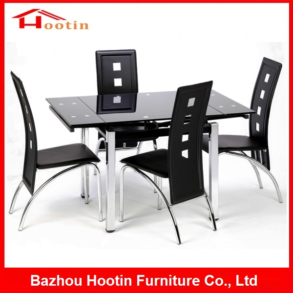Modern Folding High Quality Cheap 4 Seater Black Tempered Glass Top Chrome Metal Chrome Table and Chairs Extendable Dining Sets