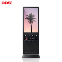 43 inch phone charging station lcd floor advertising information kiosk double screens standing totem display digital signage