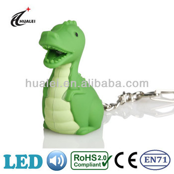 Dinosaur LED Keychain Light with Sound