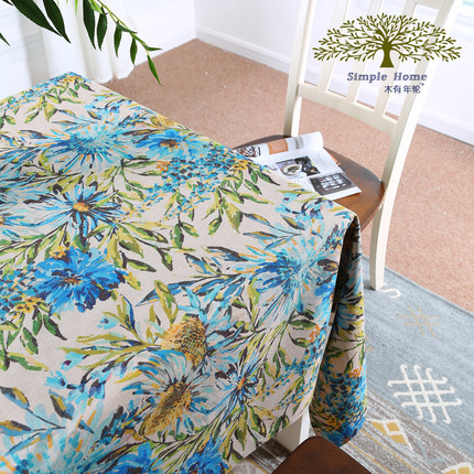 Cotton and linen print blue flower fabric painting designs on table cloth