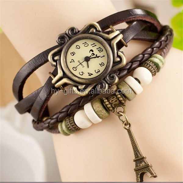 manufacture fashion women vintage watch retro flower bracelet watch