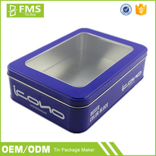 Wholesale Custom Made Full Color Printed Metal Cupcake Tin Box With Clear Pvc Window Lid