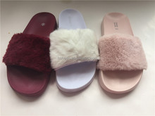 Hot sale Cool Colorful Ladies Comfy Faux Fur EVA Slider Flat Slippers