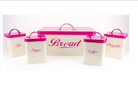 Cream Complete Set Metal Kitchen Canisters