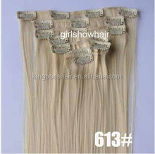 Big Sale promotion for summer sexy women human hair clip in human hair extensions