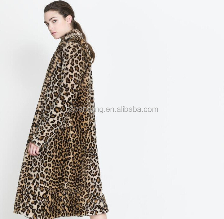 trench style winter collarless animal print faux fur leopard coat