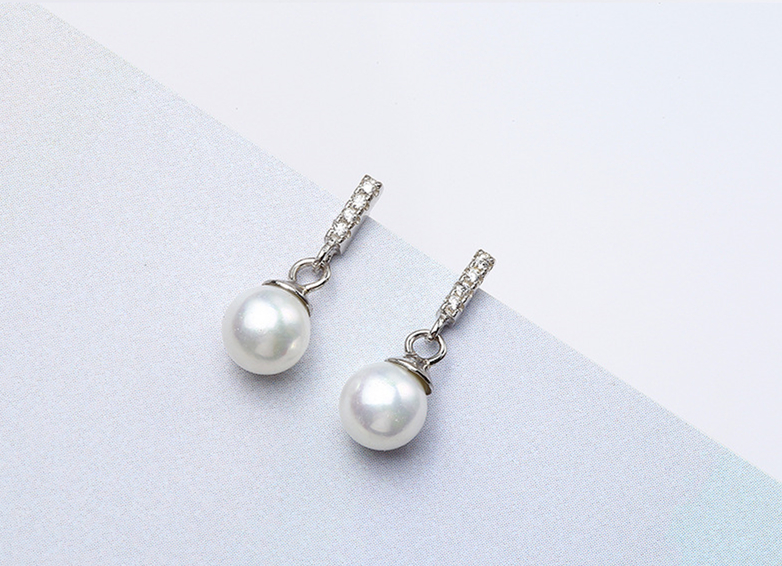 925 Sterling Silver Pearl Long Drop Earrings for Women CZ Jewelry