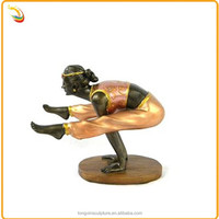 Arts And Craft Antique Statue Bronze Yoga Pose Lady Sculpture For Sale
