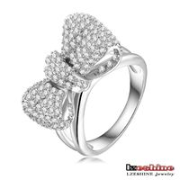 Micro Inlay Austrian Crystal Bowknot Girls Ring Jewelry 18K Platinum Plated CRI0176-B
