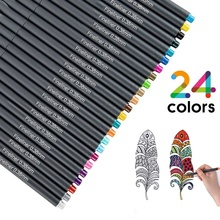 24 colors Fineliner Color Pen Set, 0.4 mm Fine Line Drawing Pen, Porous Fine Point art Markers Pen