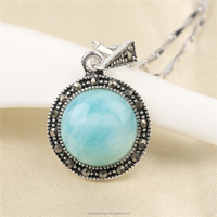 High Quality 2017 New Jewelry Design Round Shape Larimar Stone 925 Sterling Silver CZ Micro Paved Pendant Jewelry Charm Pendant