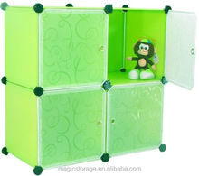 Multi Use DIY Plastic Storage 4 Cubes Cabinet with door for kid toys