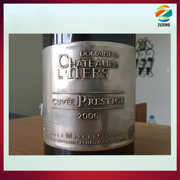 embossed metal labels for red wine metal label