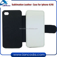 sublimation cell phone leather case for iphone4/4s,with white fabric