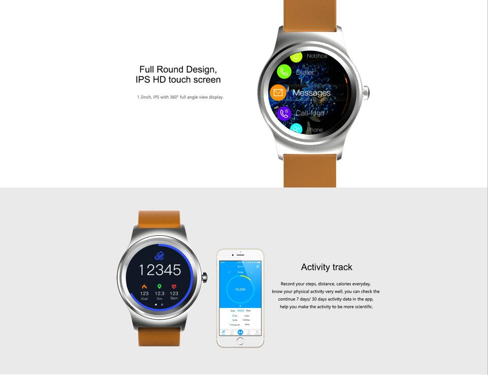 2018 new IPS full round touch Screen Smart Watch Phone With Call Function Heart Rate Monitor