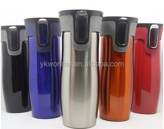 double wall contigo style stainless steel travel mug, thermo mug