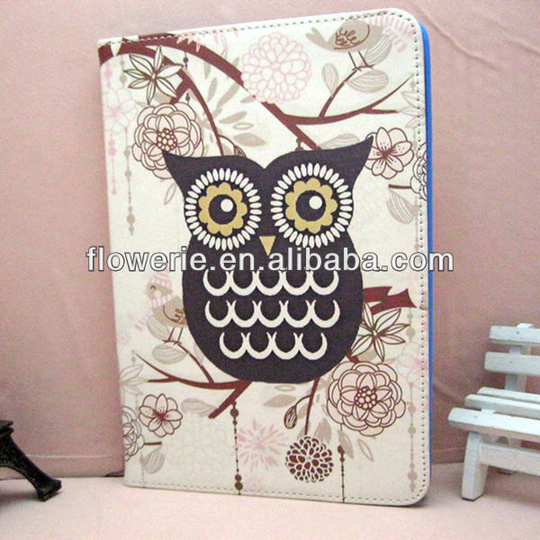 FL2822 2013 Guangzhou hot selling stand owl wallet leather flip case card holder for ipad air
