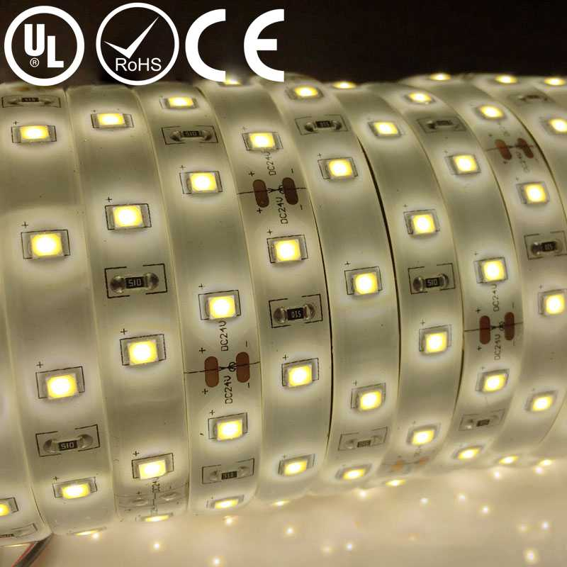 UL Listed Waterproof 24V 3.6W 18LED 396LM Per Foot 5000K 16.4FT Per Roll CRI 80RA Strip LED 2835 LED Chip