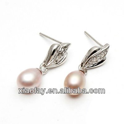 Fashion High Quality Real Pearl Silver Earrings