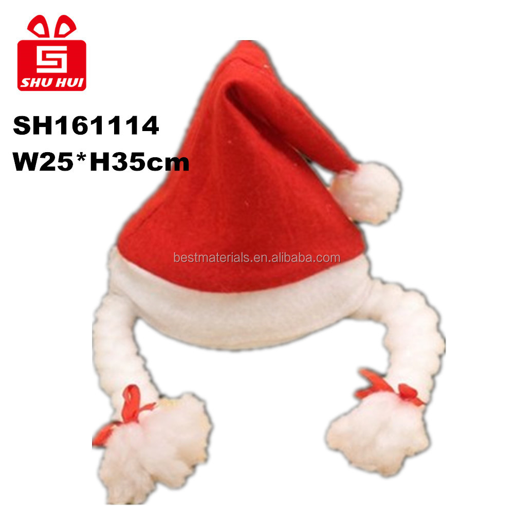 Polyresin couple blue birds in christmas hat for decoration