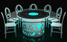 Stainless steel led light wedding banquet dining table with glass top