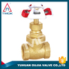 TMOK 1/2 inch gate valve drawing and BSP thread connection for gas and water and brass color in OUJIA VALVE FACTORY